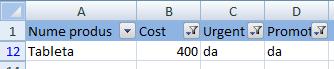 Filtre in Excel