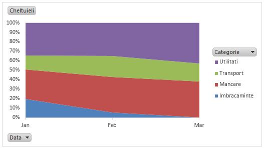 Buget personal in Excel - pondere cheltuieli pe luna