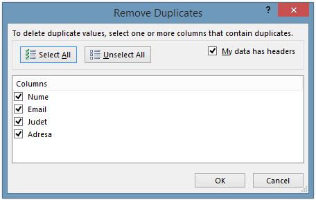 Eliminare duplicate excel