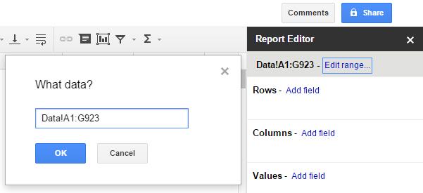 Pivot table Google Sheets 4