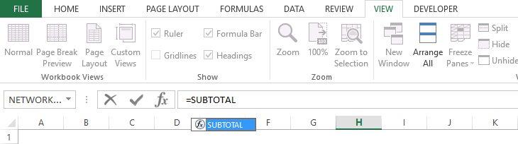 Functia subtotal in Excel
