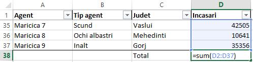 Functia subtotal Excel