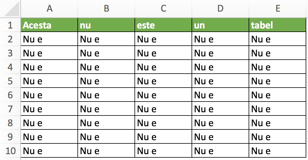 Tabele in Excel 1