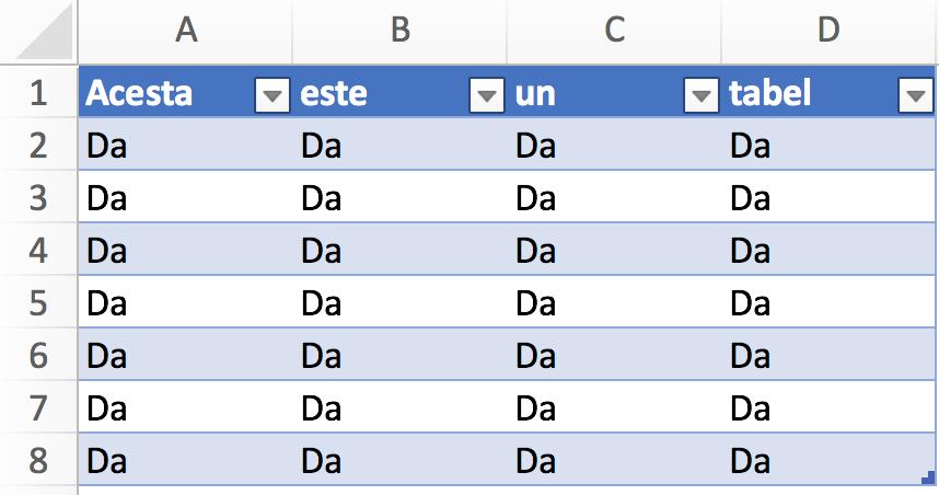 Tabele in Excel 4